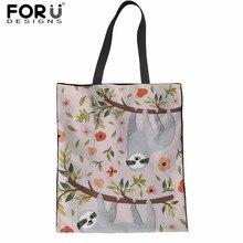 FORUDESIGNS Floral Sloth Cute School Bag Girls Handbags Large Women Messenger Tote Bags Schoolbag Shopper Mochilas