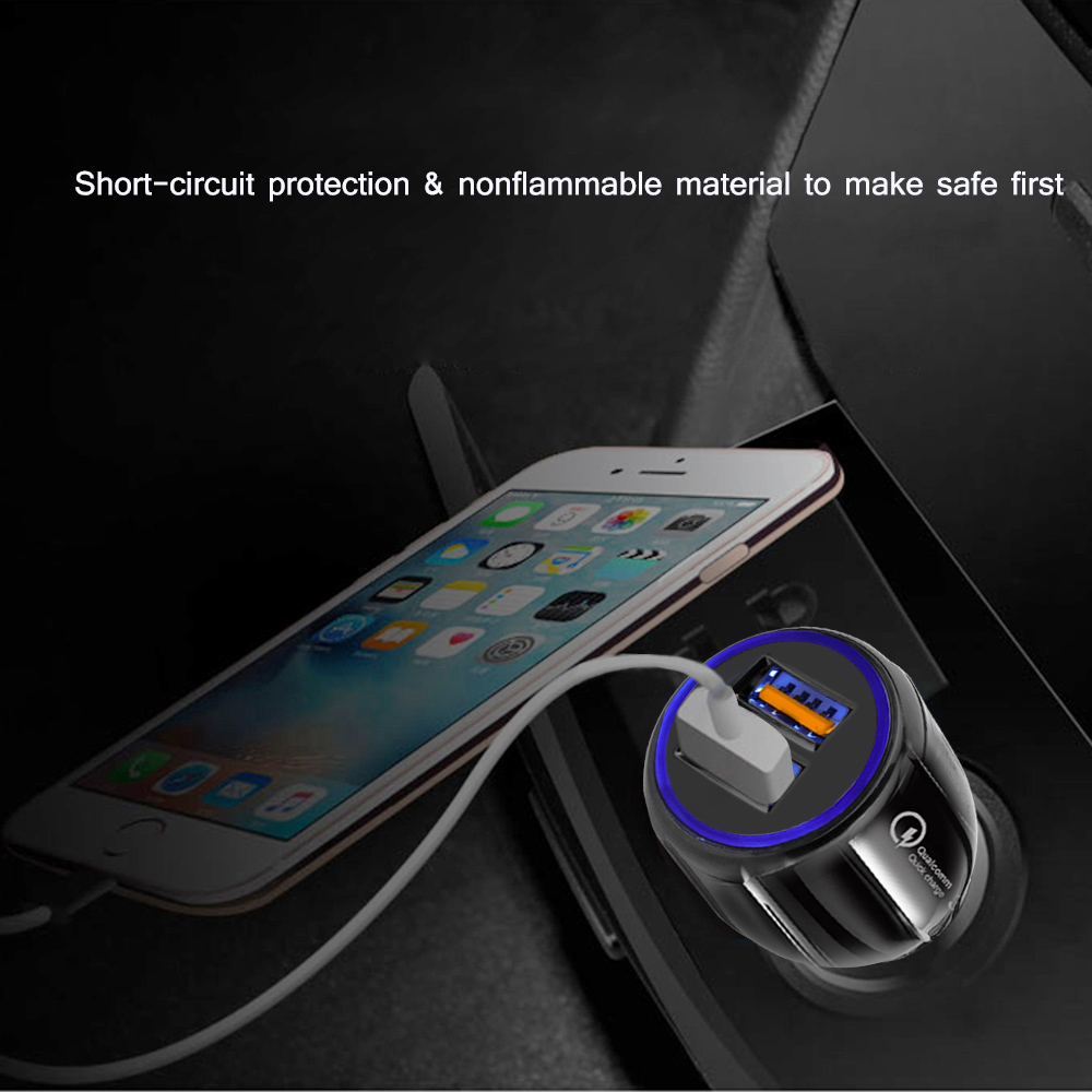 2 Prot USB LED Car Charger Quick Charge 3.0 Adapter For iphone huawei Mobile Phone Travel Car Charge USB Cable Cord Fast Charger