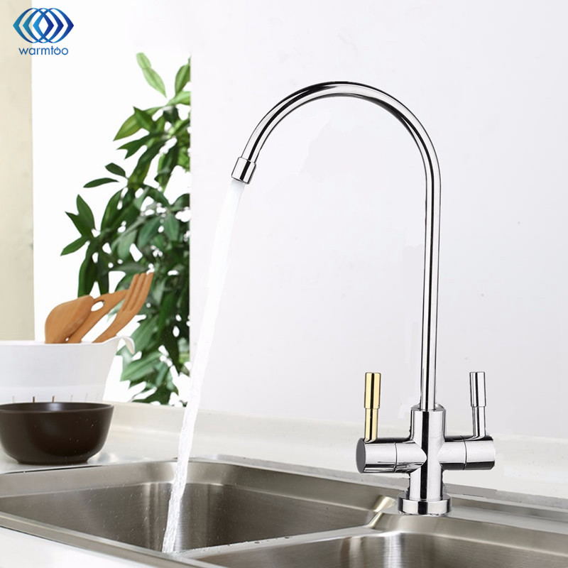 1/4'' Chrome Drinking RO Water Filter Faucet Stainless Steel Finish Reverse Osmosis Sink Kitchen Double Holes Water Intake