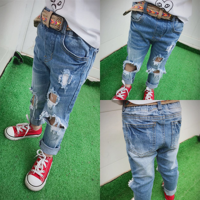 e4fc823d8 2017New Pants Kids Trousers Fashion Girls Jeans Children Boys Ripped Jeans  Kids Fashion Denim Pants Baby