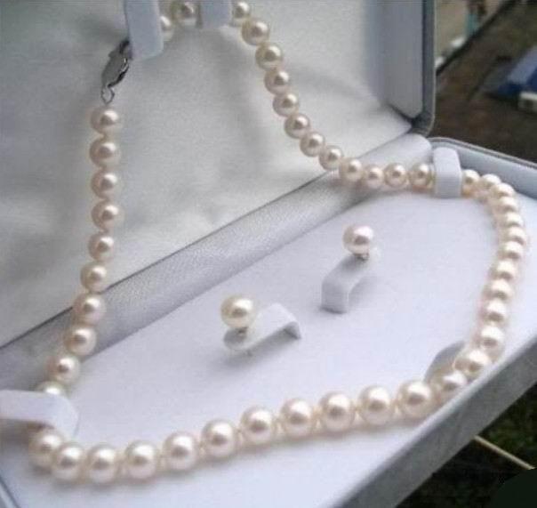 (Minimum Order1) 8-9mm White Tahiti Shell Pearl Necklace Bracelet Earring Set Beads Jewelry Set Natural Stone 18inch