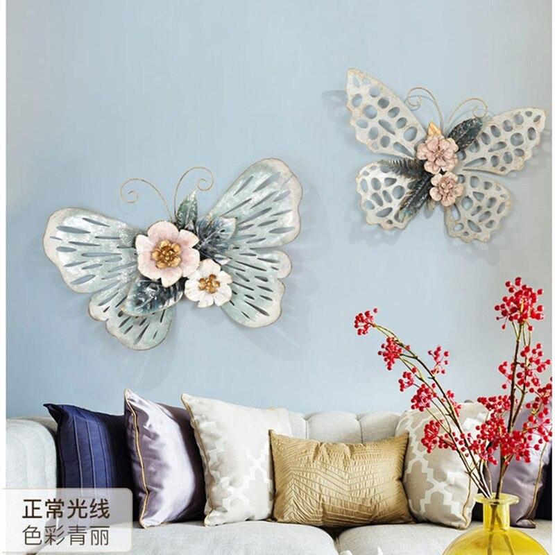 Европейский стиль 3D стерео Кованое железо бабочка настенные декоративные гостиной настенные подвесные фрески домашние ремесла художественное украшение R1270 - 4