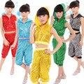 Novos trajes de dança jazz terno trajes de lantejoulas das crianças com capuz crianças roupas de dança jazz
