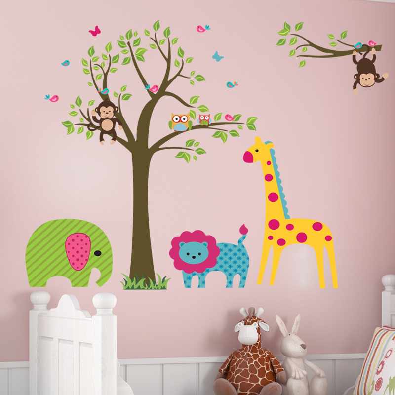 Cartoon animal monkey owl Jungle Tree nursery decor art lion Kids room decor pvc home decal
