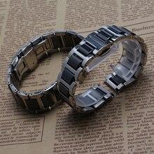 Común Correa Extremo Recto De Cerámica Del acero Inoxidable reloj de pulsera de la mariposa hebilla del despliegue 16mm 18mm 20mm negro caliente