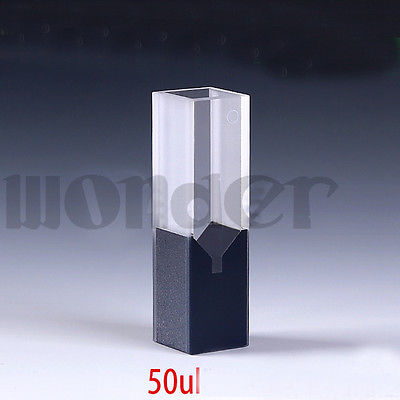 50ul 10mm Path Length Sub-Micro Quartz Cell With Black Walls And Lid
