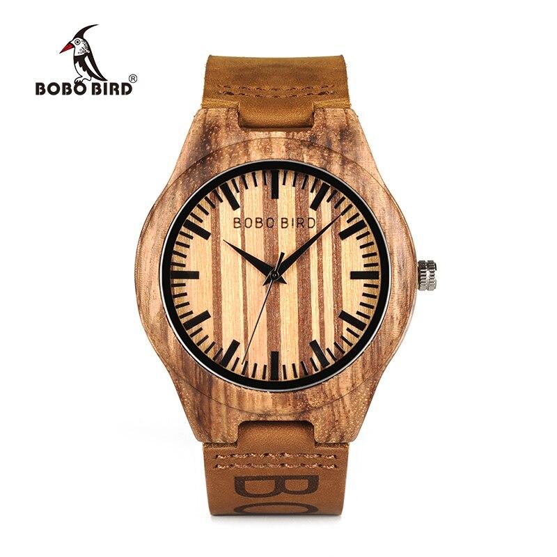 BOBOBIRD мужские деревянные наручные часы повседневные кварцевые часы с фирменной коричневой кожей в подарочной коробке
