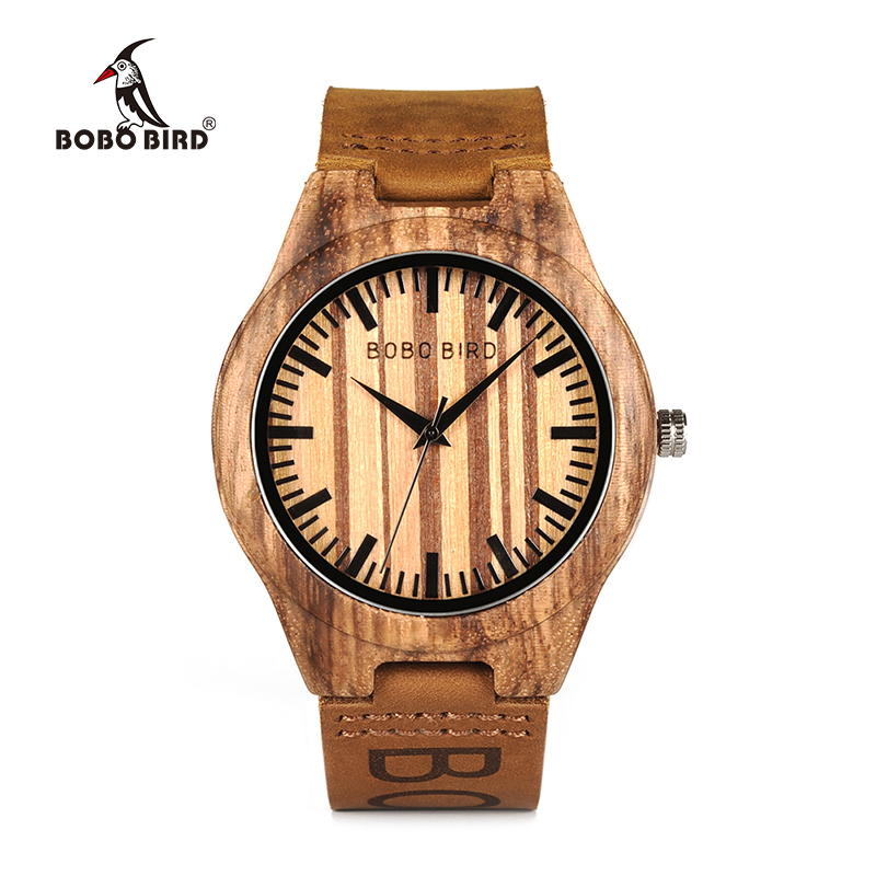 BOBOBIRD Mens Wooden Wristwatch Causal Quartz Watch with Branded Brown Leather in Gift Box