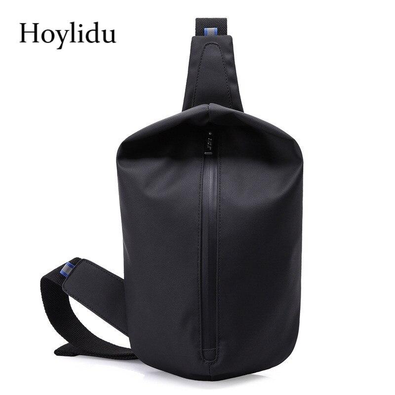 Hoylidu New Fashion Waterproof Nylon Chest Bag Men Travel Bag Large Capacity Handbag Reflective Material Design Crossbody Bag