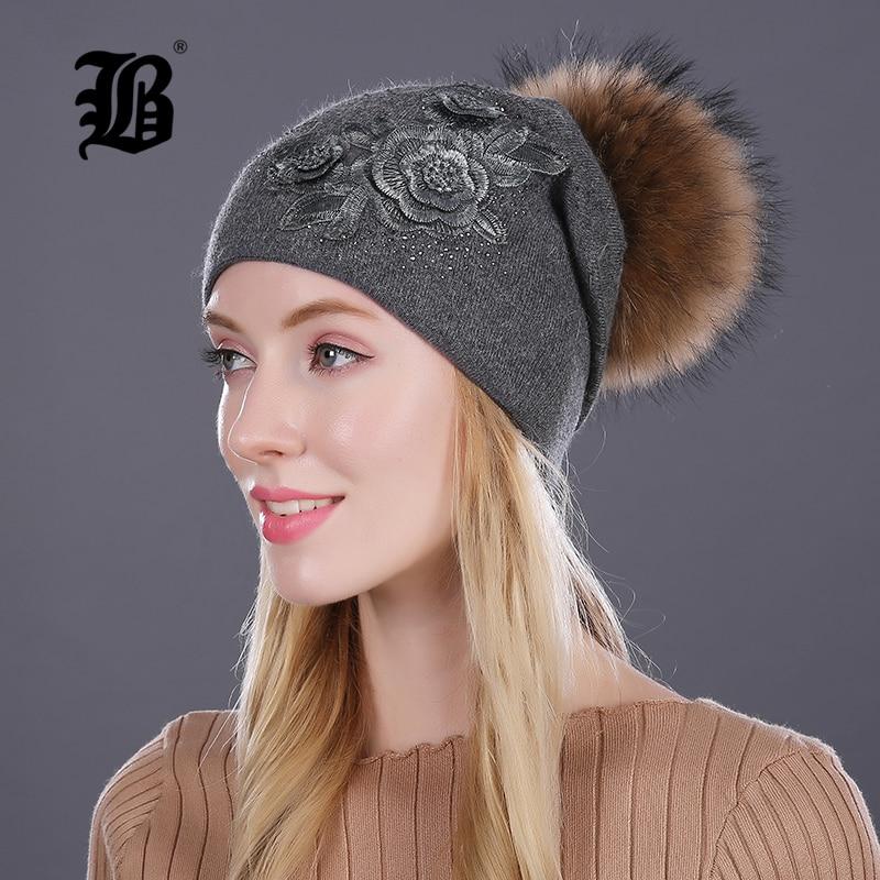 [FLB] Winter fur pompom hats for women cashmere wool cotton hat Big Real Raccoon fur pompom Beanies cap Fox fur Winter hat