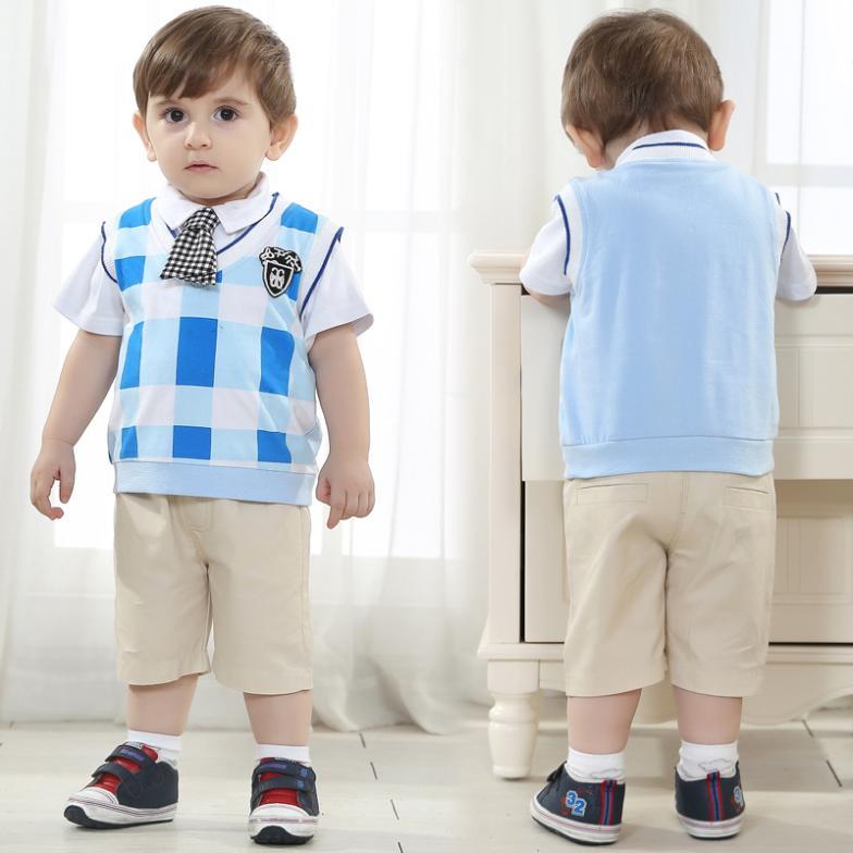 brand high quality plaid shirt+trousers+tie baby boy 3