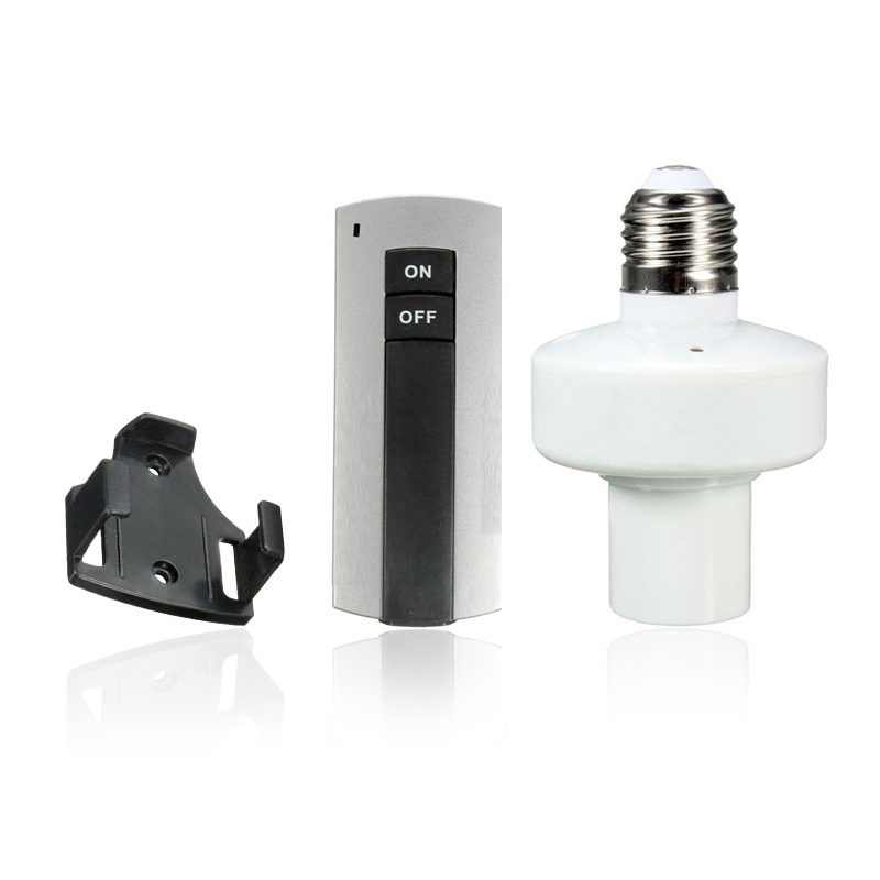 Light Switch <font><b>Remote</b></font> <font><b>AC</b></font> 110V 220V E27 Screw Lamp <font><b>Holder</b></font> Cap Socket Lightbulb Controller On/Off Switch for Home Lighting JQ image