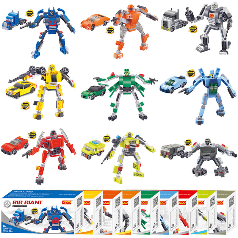 Toys Brinquedos Warrior Series Robots Transmable Models 9in1 Building Assembled Toys Classic Bricks Educational Children