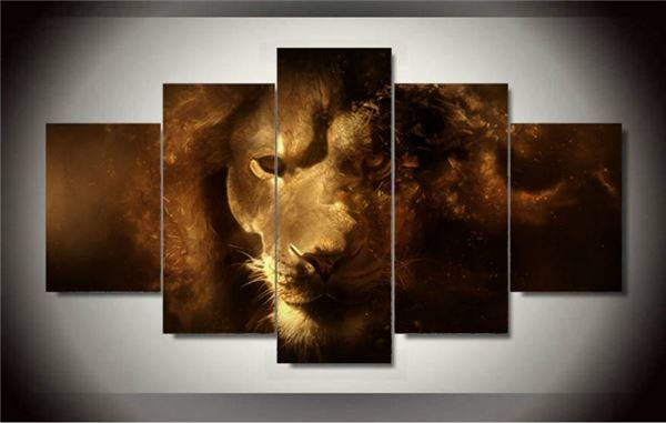 Free shipping 5 panel modern canvas art lion oil painting on canvas for decorative picture living room wall painting F/1387 -343