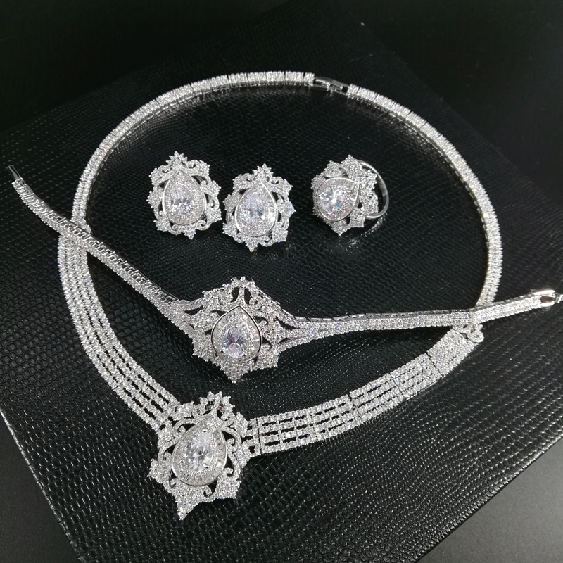 все цены на NEW FASHION Retro luxury zircon necklace earring bracelet ring wedding bride banquet formal dress jewelry set free shipping