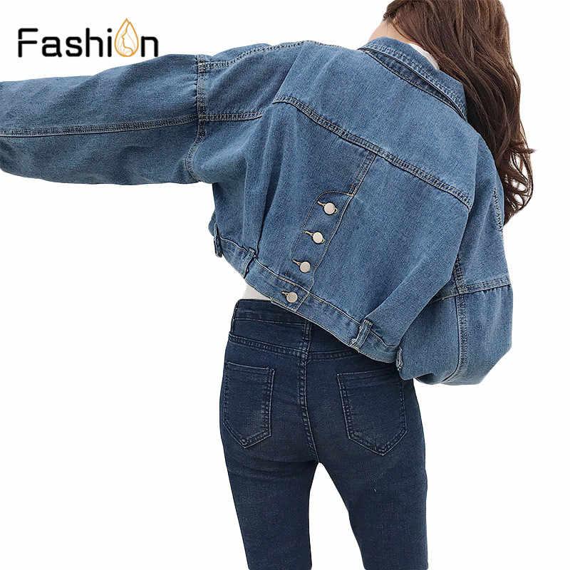 4e1276a3a8ee 2019 Женская Базовая короткая джинсовая куртка пальто для девочек ...