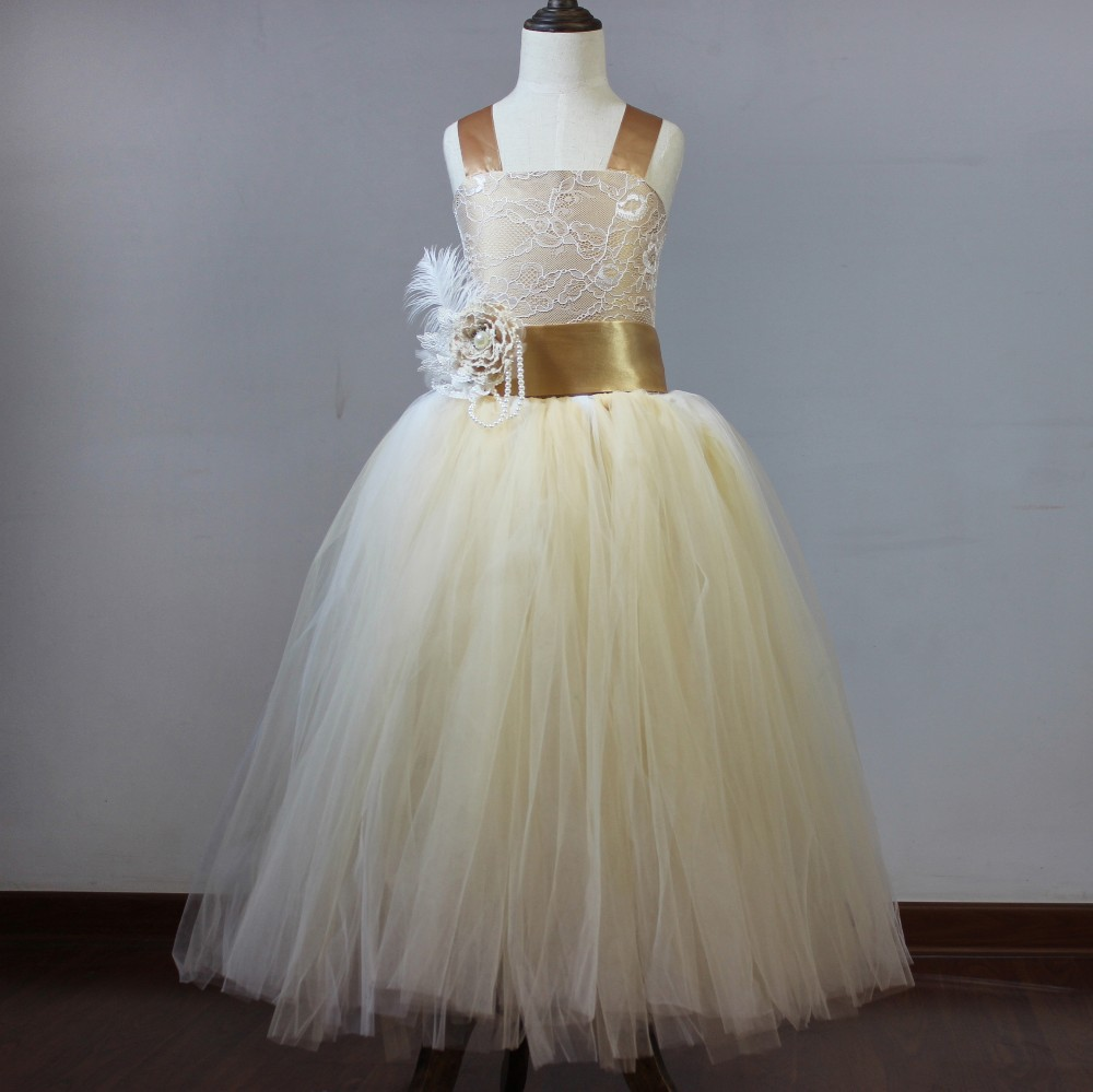 Vintage Lace Champagne Spaghetti Straps Fluffy Tulle Ball Gown   Flower     Girl     Dresses   for Weddings Party