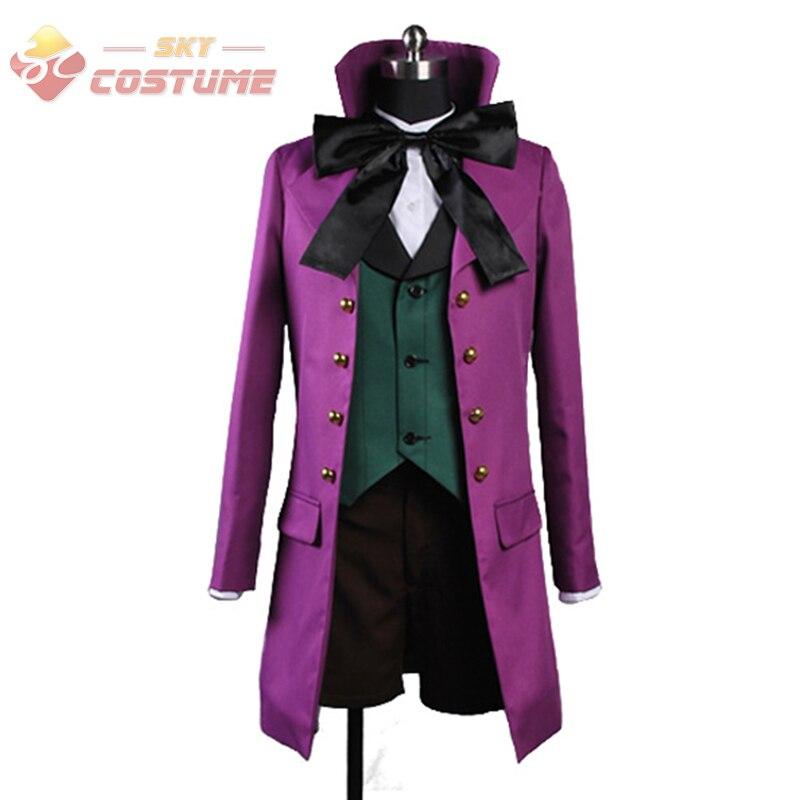 Black Butler II 2 Alois Trancy Cosplay Costume Uniform Purple Coat Full Set Cosplay Costume Version B Halloween Party