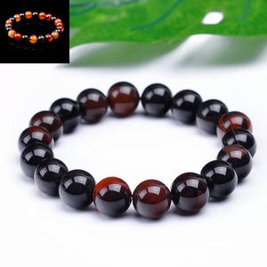 Bracelets Jewelry Agate Tiger-Eye-Strand Natural-Stone Beads Black Red Men for Women