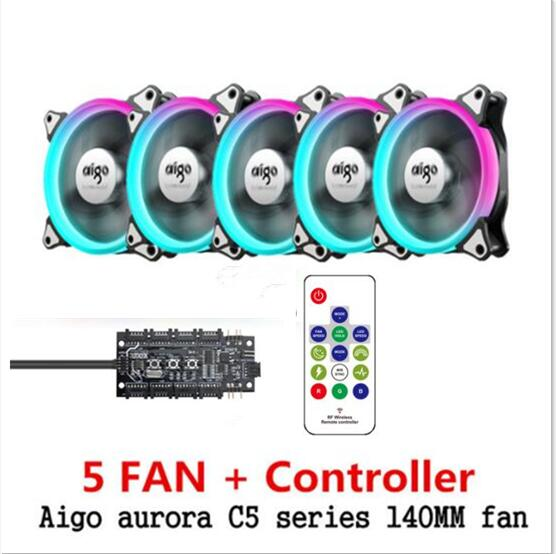 Aigo C3 C5 pro aura sync Computer Fall PC Lüfter RGB Einstellen LED 140mm Ruhig IR Remote-computer kühler Kühlung RGB Fall Fan