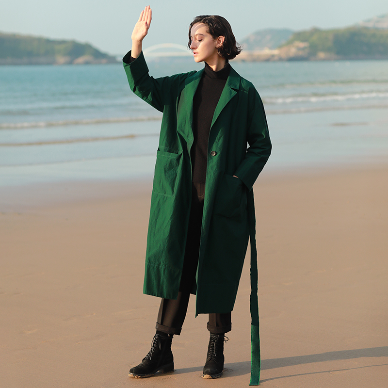 IRINAW137 New Arrival Autumn 2018 notched collar with belt single button oversized long green   trench   coat women