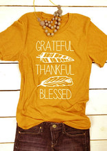 4b650e3f9ca4 Grateful thankful blessed shirt Thanksgiving gift tops slogan t shirt  graphic tees yellow shirt vintage Feather pattern tshirt