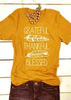Grato grato benedetto camicia regalo di Ringraziamento top t shirt slogan graphic tees camicia gialla dell'annata Della Piuma del modello tshirt