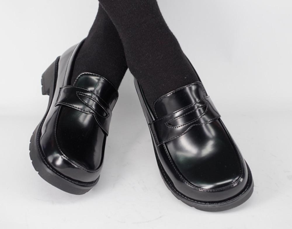 Japanese School Students Uniform Shoes Uwabaki JK Round Toe Women Girls Lolita Cosplay Med Heels G8