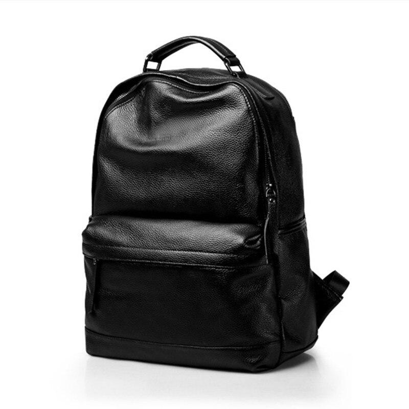 15 Natürliche Fashion Echtes Freizeit Schule Rucksack Black Student