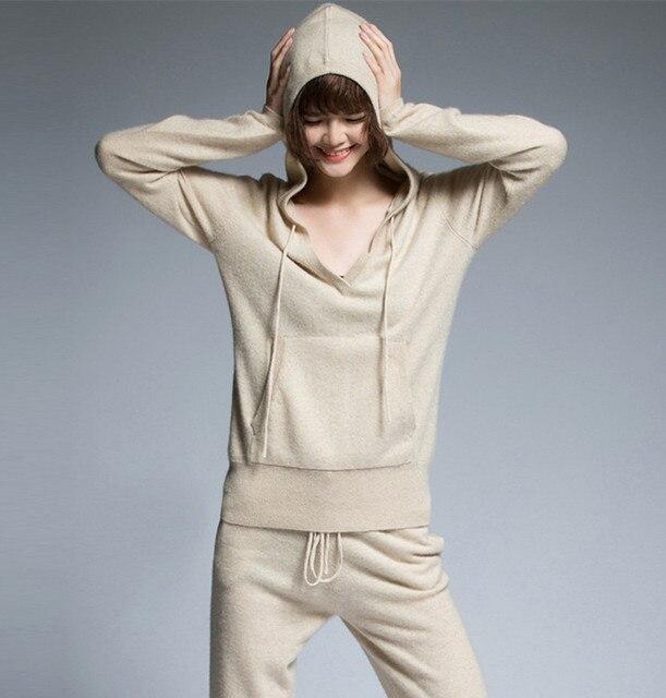 d2c354bdf € 241.03 15% de réduction|Haute qualité cachemire laine femmes sweats à  capuche survêtements col en v pull cordon pantalon 2 pièces/ensemble ...