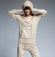 High Quality Cashmere Wool Women S Hooded Sweatshirts Suits V Neck Pullover Drawstring Pant 2pcs Set