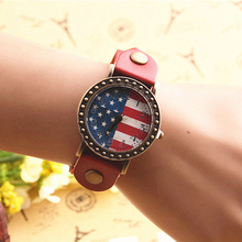 1 x Hot selling Women's Fashion Flag Pattern Leather Strap Analog Quartz Casual Wrist Watch P15