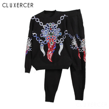High Quality Diamond And Sequined Tracksuits For Women Hip Hop Style Pullover Sweater Top&Pants Suit 2 Piece Set Outfits Female