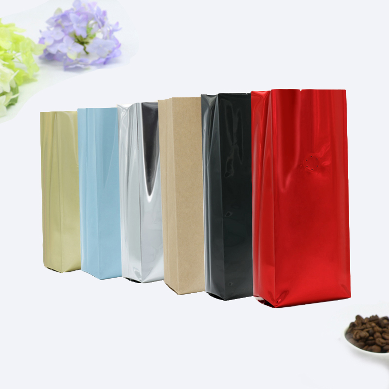 Half Pound Coffee Candy PetFoodStorage Bag 250 G Air Aluminum Standing Heat Back Four Side Foil Open Top Valve Side Gusset Seal in Storage Bags from Home Garden