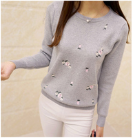 2017 Spring New Korean Version Of Slim Plum Embroidery Round Neck Sweater Long Sleeves Women S