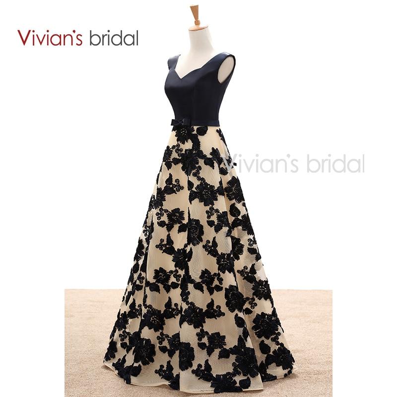 Pengantin Vivian Elegant A Line Petang Satin Satin Floral Cetak Lace - Gaun acara khas - Foto 2