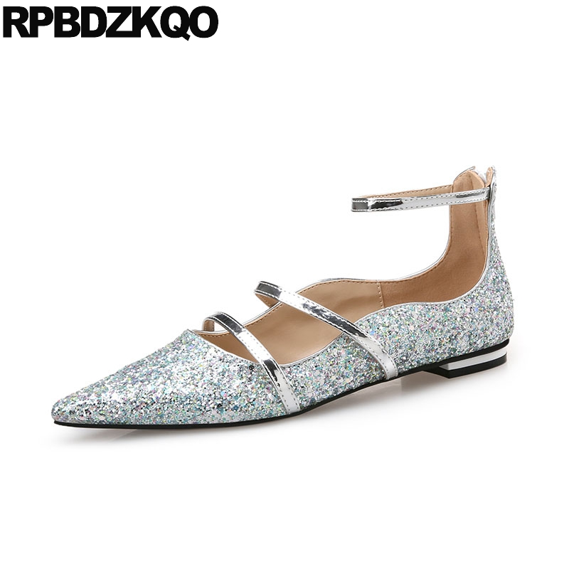 Designer Glitter Silver Black Pointed Toe Sequin Ballerina Women Bling Mary Jane Dress Ankle Strap Party Wedding Ballet Shoes women ballerina pointed toe ladies designer shoes china 2018 ballet ankle strap suede pink cute elastic flats japanese cross