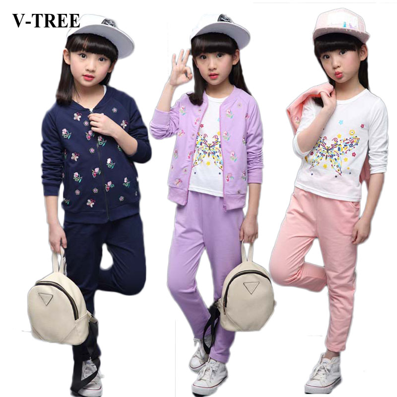 V-TREE Girls Clothes Sets 3pcs/set Teenager Sports Suits For Girl Kids Tracksuit Children Clothing Set 8 10 12 Outfit tracksuit girls sports suits fashion toddler girl clothing sets 2018 spring autumn sequin outfit clothes size 4 6 12 14 year