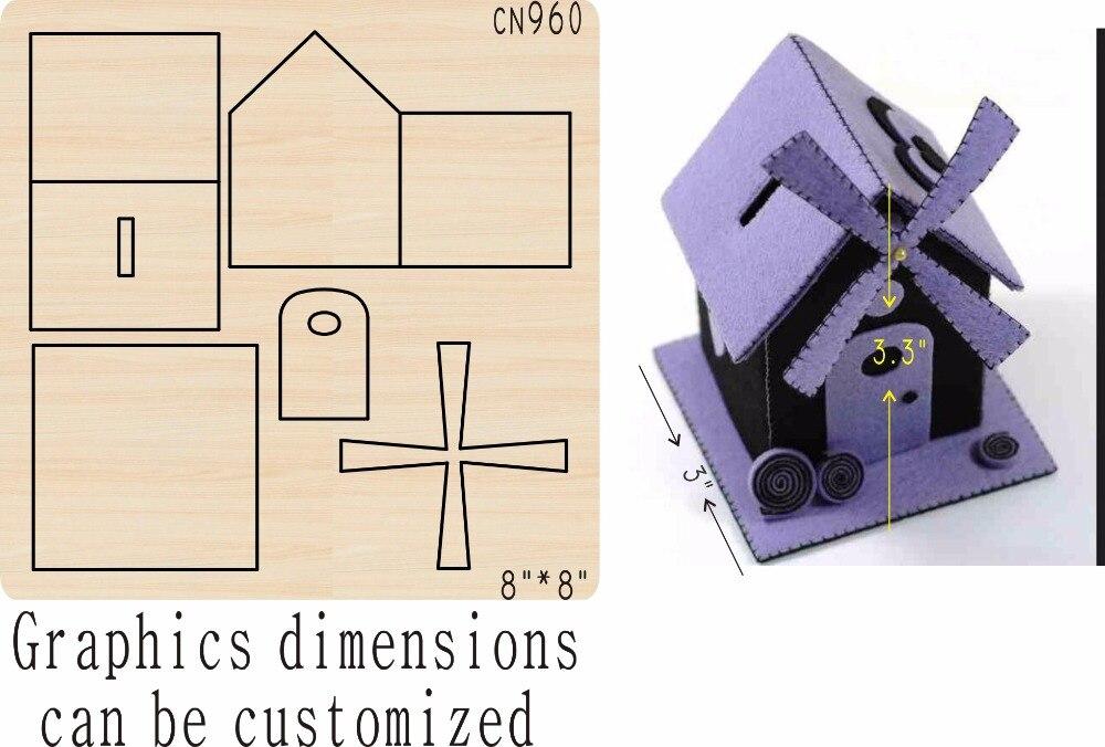 Windmill house wooden mold die cut accessories wooden die Regola Acciaio Die Misura ,MY