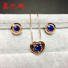 18 k gold inlaid natural sapphire pendant earrings set in Sri Lanka The fire royal blue color
