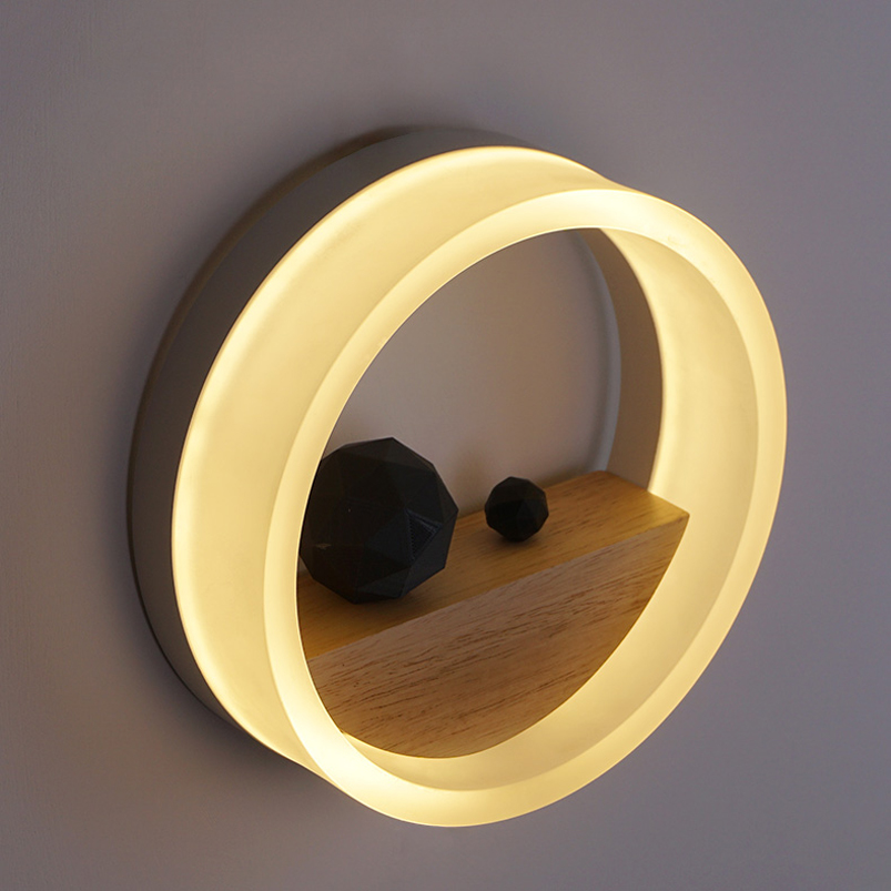 Modern brief simple personality living room bedside stair aisle balcony bathroom mirror round wall lights led 12w wall lamp m190en04 v 5 m190en04 v5 lcd display screens