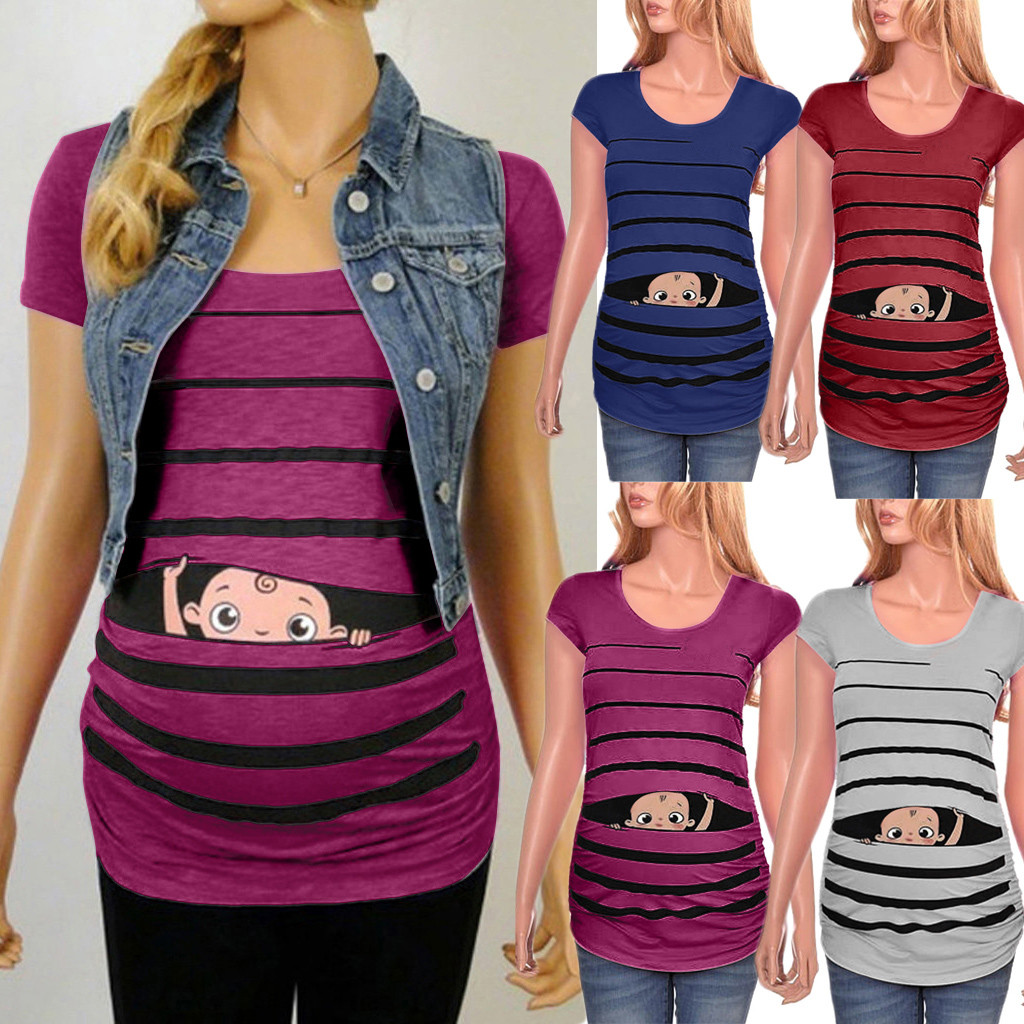 Women blouse  Maternity Cute Funny Baby Print Striped Short Sleeve T shirt Pregnant Tops|Vests| |  - title=