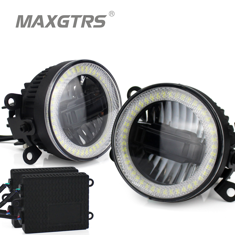 2x Universal 3.5 inch Auto Light LED Angel Eyes Daytime Running Light DRL Car Fog Light Assembly Foglamp For Nissan Mitsubishi