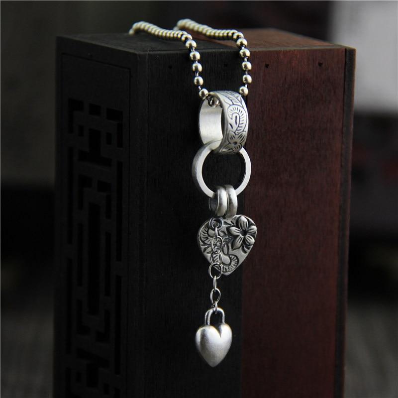 Necklaces & Pendants Heart Flower Carving Real Pure 925 Sterling Silver Retro Vintage Ethnic Amulets And Talismans Pentagram