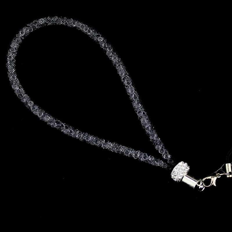 Bling Rhinestone Diamond Telefoon Lanyard Bandjes Fashion Glanzende Kleurrijke Korte Hand Mobiele Keten