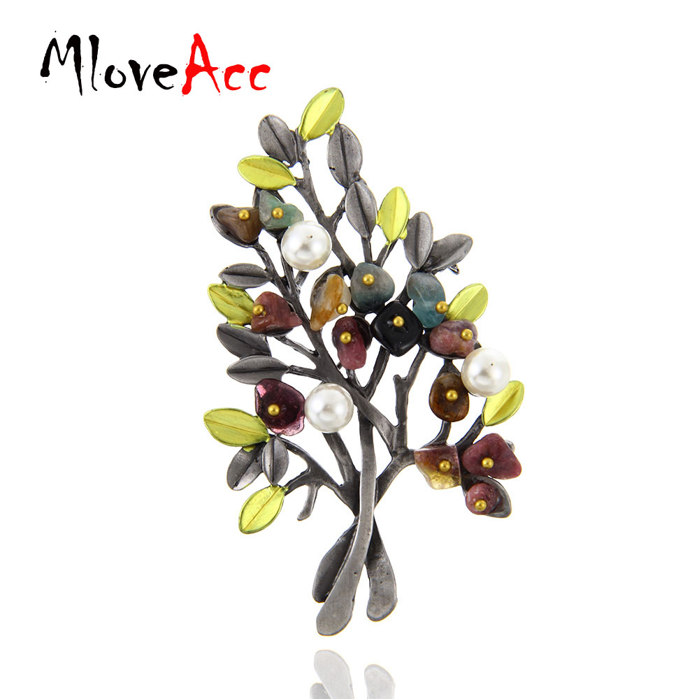 MloveAcc Vintage Natural Stone Brooch Pendant Retro Tree Shape - Fashion Jewelry