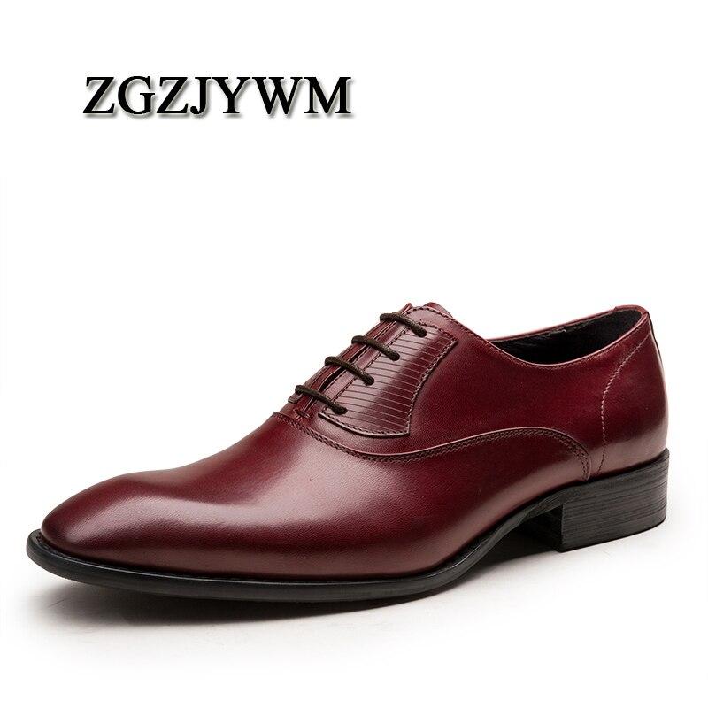 Oxfords De Formais Genuíno Moda Sapatos Casamento Negócios Couro Respiráveis preto Homens Vermelho red Vestido Vinho Zgzjywm Alta Black Qualidade Lace up Dos Pxg4wEvqv