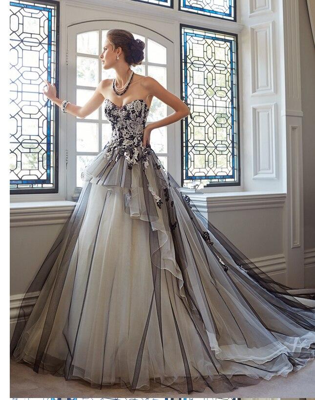 Amato Stile gotico abito da sposa nero senza spalline una linea di tulle  VU68