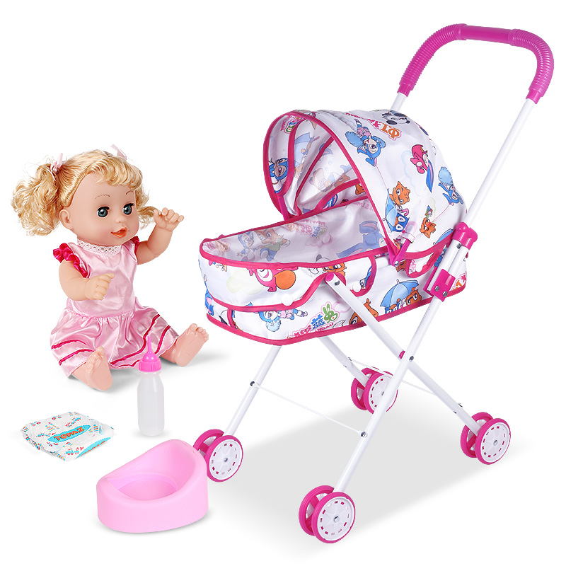 Children's Toys, Girls, Family Play, Hardcore Folding  Doll Carts, Simulation  Baby Girl, Baby Cart.