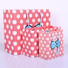 New 10pcs Cute Pink Bow Dot Paper Gift Handbag Wedding Favours Party Candy Bag Cookie Cake Bags